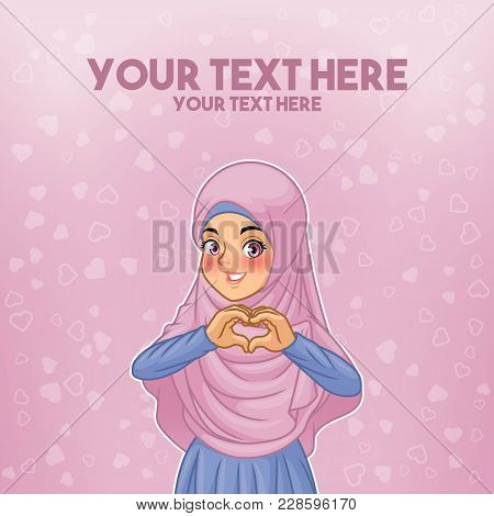 Young Muslim Woman Wearing Hijab Veil Making Heart Shape With Her Hands Cartoon Character Design, Ag
