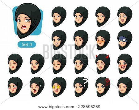 The Fourth Set Of Muslim Woman Wearing A Black Hijab Cartoon Character Avatars With Different Facial