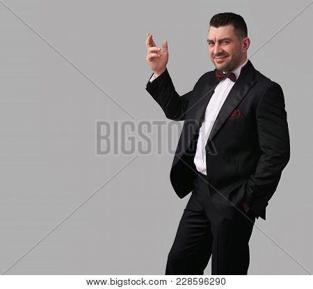 Handsome Man In Black Suit, Tuxedo