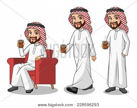 Set Of Businessman Saudi Arab Man Cartoon Character Design Making A Break Relaxing With Holding Drin