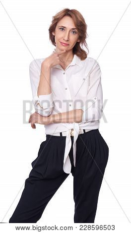 Middle Aged Trendy Woman Isolated