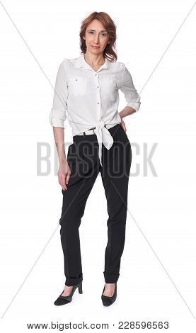Full Body Portrait Of Middle Aged Woman