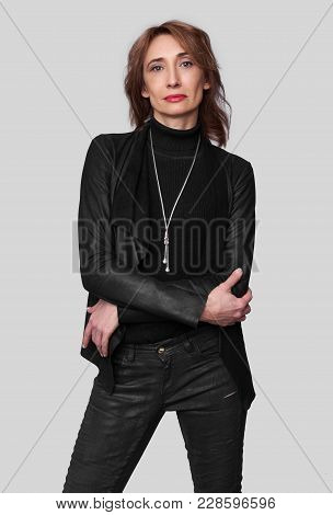 Middle Aged Woman Wearing Black Leather Clothes