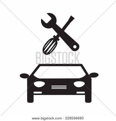 Car Service Icon On White Background. Car Service Sign. Flat Style. Repair And Service Symbol.