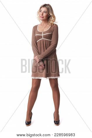 Full Length Of Attractive Sensual Woman Is Smiling