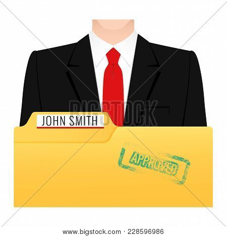 A Folder With Documents Per Person For Hiring, A Man In A Business Suit