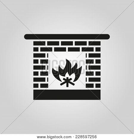 Fireplace Icon. Hearth And Chimney, Fire, Mantelpiece, Heat Symbol. Flat Design. Stock - Vector Illu