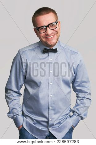 Cheerful Hipster Guy Dresssed Casually Smile