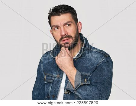 Bearded Guy Is Thinking And Looking Up