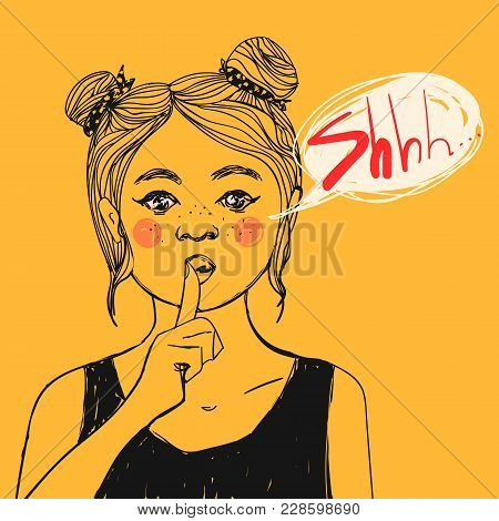 Pretty Girl With Pink Cheeks And Freckles Making Shhh Sign And Text Bubble, Asking For Silence With