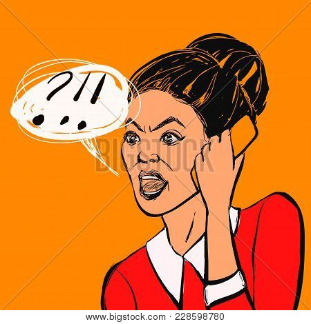 Angry Brunette Woman With Mobile Phone And Text Bubble. Hand Drawn Vector Illustration.
