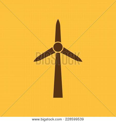 Windmill Icon. Power And Renewable, Generator, Ecology Symbol. Flat Design. Stock - Vector Illustrat