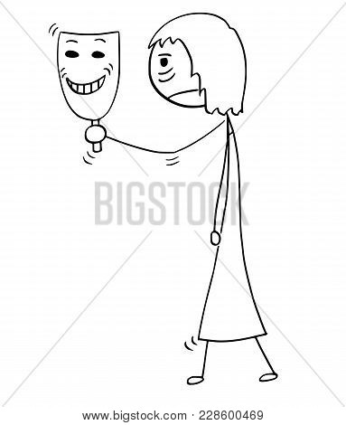 Cartoon Stick Man Drawing Conceptual Illustration Of Sad Or Tired Woman Or Businesswoman Holding And