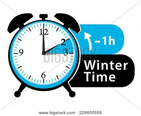 Winter Time. Daylight Saving Time. Fall Back Alarm Clock Icon.