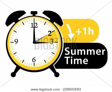 Summer Time. Daylight Saving Time. Spring Forward Alarm Clock Vector Icon.