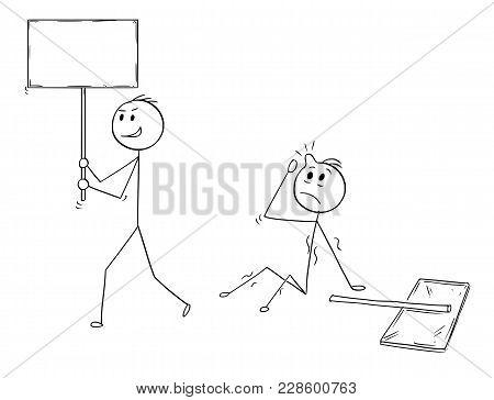 Cartoon Stick Man Drawing Conceptual Illustration Of Businessman Demonstrator Or Protester Walking W