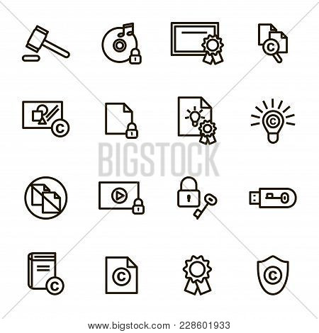 Copyright Signs Black Thin Line Icon Set Include Of Content, Data, Protection Property, Law And Docu