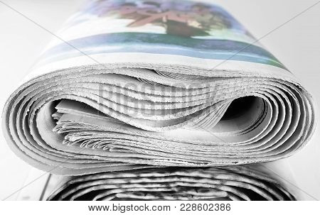 Stack Of Old Rolled Up Newspapers, Selective Focus