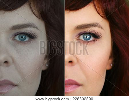 Woman Face Before And After Skin Retouch And Face Color Correction. Beautiful Eye Color Close-up. Co