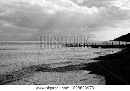 Black Sea Landscape In Black And White, Crimea.