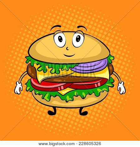 Burger Sandwich Cartoon Character Pop Art Retro Vector Illustration. Cartoon Food Character. Color B