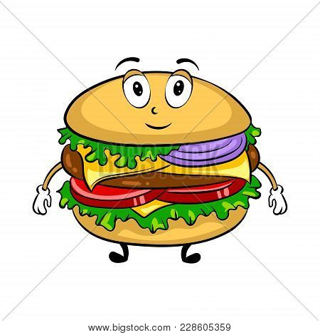 Burger Sandwich Cartoon Character Pop Art Retro Vector Illustration. Cartoon Food Character. Isolate