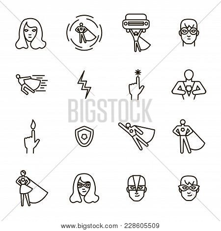 Super Hero Black Thin Line Icon Set Include Of Power, Costume, Mask And Heroic Person. Vector Illust
