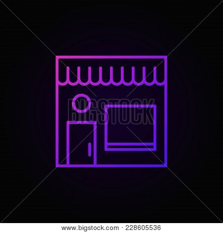 Street Cafe Colored Icon. Vector Cafe Building Outline Symbol Or Design Element On Dark Background
