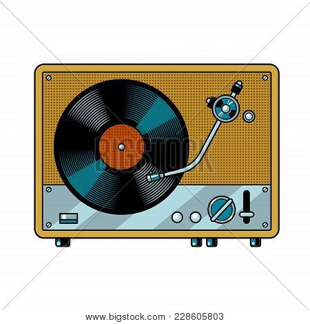 Record Player Turntable Device With Vinyl Record Pop Art Retro Vector Illustration. Isolated Image O