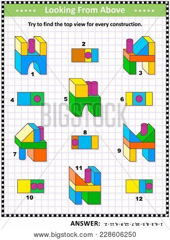 Educational Math Puzzle: Find The Top View For Each Of The Toy Building Blocks Structures. Answer In