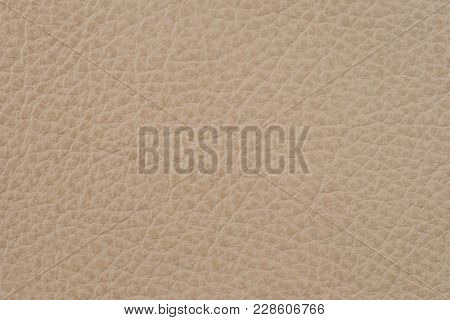 Light Brown Leather Texture Surface. Close-up Of Natural Grain Cow Leather. Light Brown Leather Text