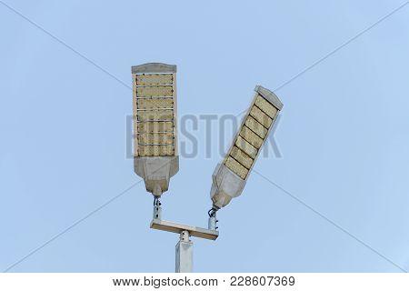 Led Illumination Tower With Blue Sky Background
