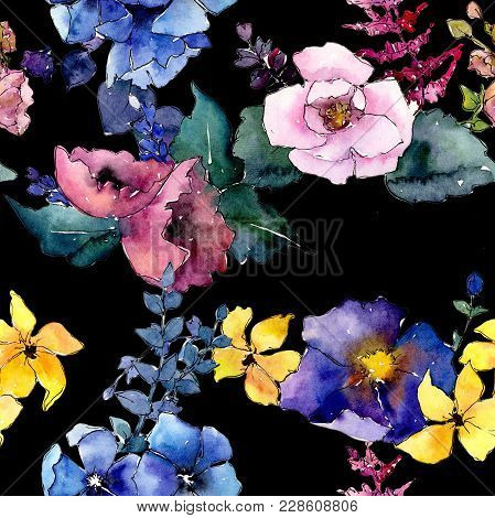 Bouquet Flower Pattern In A Watercolor Style. Full Name Of The Plant: Rose. Aquarelle Wild Flower Fo
