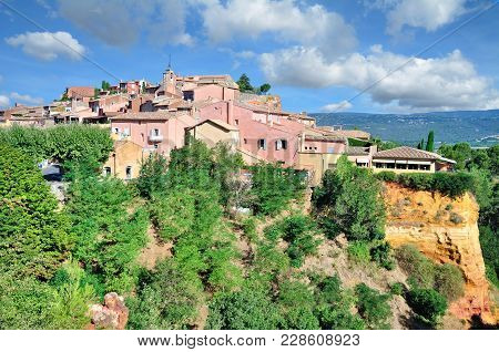 Idyllic Picturesque Village Of Roussillon In Provence,france