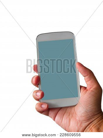 Hand Holding The Blue Smartphone With Blank Screen , Isolated On White Background. (with Free Space