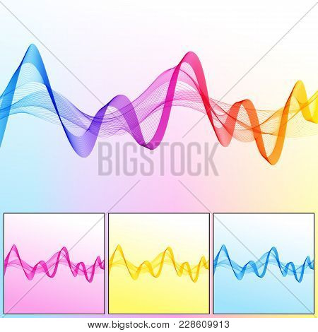 Set Of Universal Abstract Backgrounds With Wave Lines Of Different Colors. Collection Of Smooth Wavy