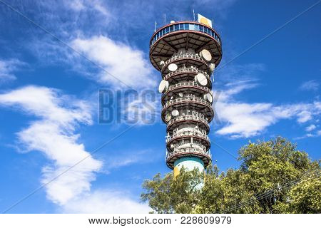 Curitiba, Brazil, December 31, 2017. Panoramic Tower, The 360 Degree View Of The 109 Meter High In P