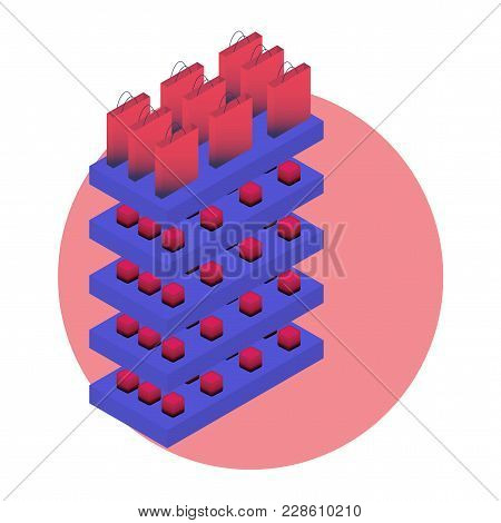 Modern Vector Isometric Illustration For Visual Merchandising To Promote Planogram, Also Known As Pl