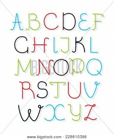 Hand Drawn Vector Alphabet Upper Case Font. Isolated English Capital Letters In Different Color For