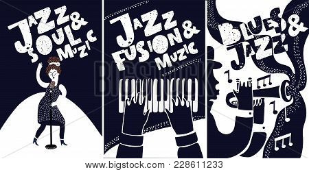 Black And White Jazz Festival Musicians Singers And Musical Instruments Poster Set Isolated Vector I