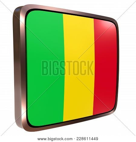 3d Rendering Of A Mali Flag Icon With A Metallic Frame. Isolated On White Background.