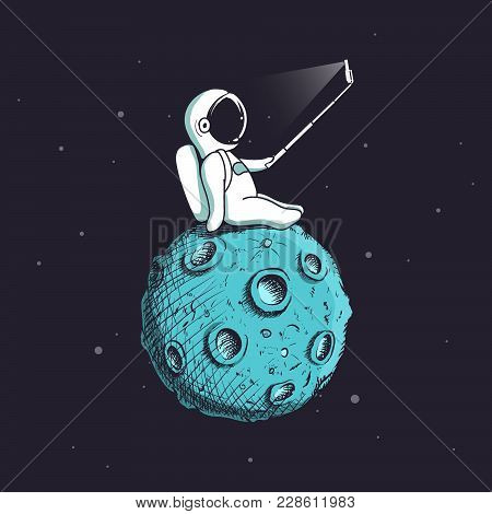 Funny Astronaut Make Selfie On Moon.spaceman Photographs Himself.childish Vector Illustration.prints