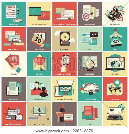 Set Of Flat Design Icons For Business, Pay Per Click, Finance, Searching, Data Security, Technology,