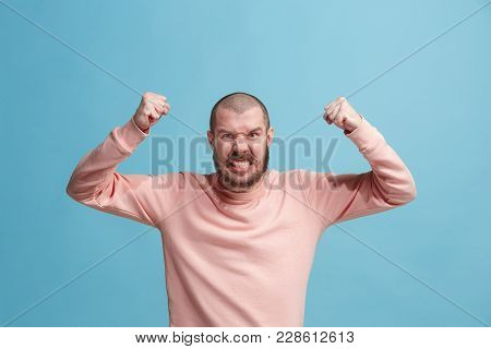 Screaming, Hate, Rage. Crying Emotional Angry Man Screaming On Blue Studio Background. Emotional, Yo