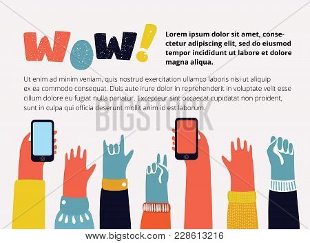 Vector Cartoon Illustration Of Colorful Raising Up Hands With Different Gesture: Peace, Rock, Fist.