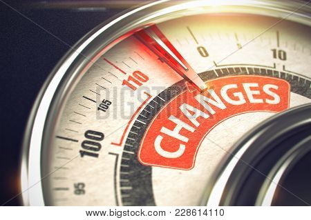 Conceptual Illustration Of A Gauge With Red Needle Pointing To Maximum Of Changes. Horizontal Image.