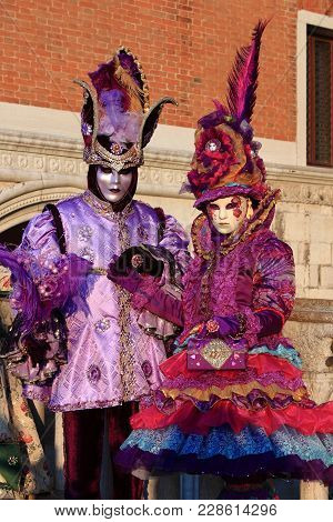 Venice - February 10: Two People In Venetian Costume Attends The Carnival Of Venice On February 10,