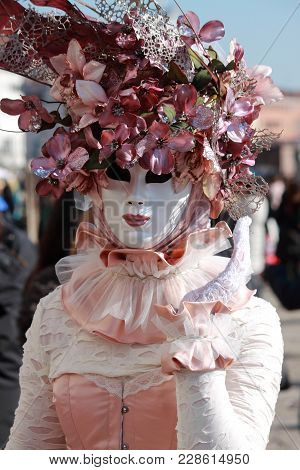 Venice - February 10: Person In Venetian Costume Attends The Carnival Of Venice On February 10, 2018