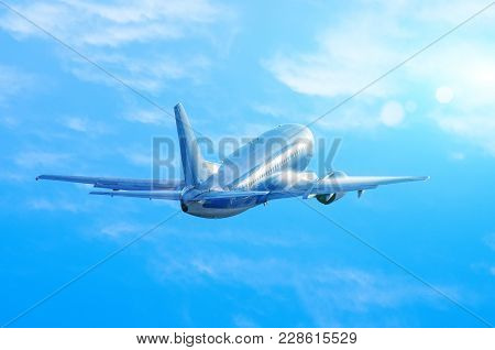 Airplane Take Off In Wet, Damp Weather, The Water Flows Down The Fuselage When Climbing Blue Sky Clo
