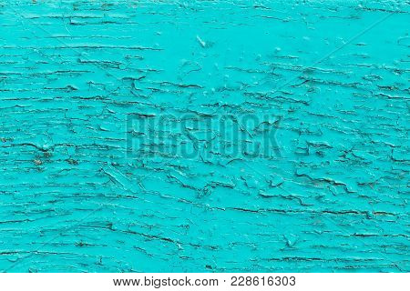 Old Turquoise Painted Wood, Weathered Surface